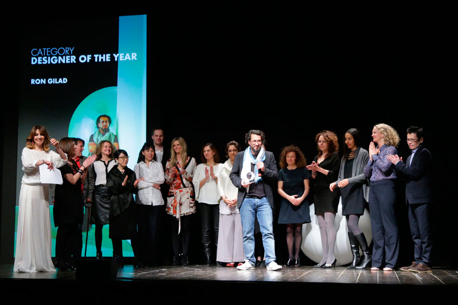 Ron Gilad, designer of the year, at the center of the stage, with the editors in chief of ELLE decoration network © Canio Romaniello Olycom