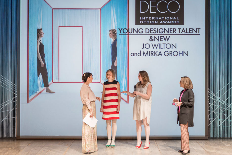 Paola Maugeri, speaker, Young Designer Talent Mirka Grohn & Jo Wilton from &New, Livia Peraldo, Editor-in-Chief at ELLE DECOR Italy © VALENTINA SOMMARIVA